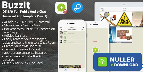 Buzz It | iOS 8/9 Universal Public Audio Chat App (Swift)