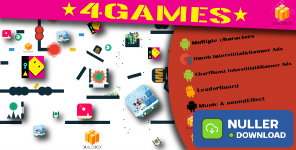 "4BuildBox Games with Admob | Chartboost | Leaderboard and No Ads ""In App Purchase"""