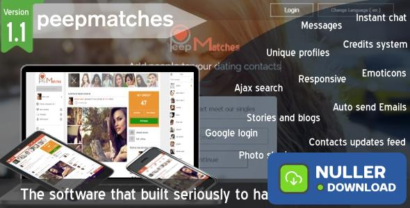 Peepmatches v1.1.0 - Advanced php dating and social script