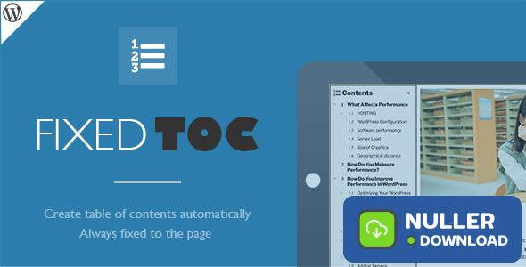 Fixed TOC v3.1.17 - table of contents for WordPress plugin