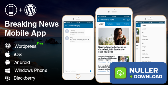 Full Android, iOS Mobile Application - Breaking News 2 Blue