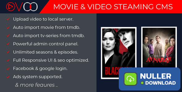 OVOO v2.1 - Movie & Video Streaming CMS with Unlimited TV-Series