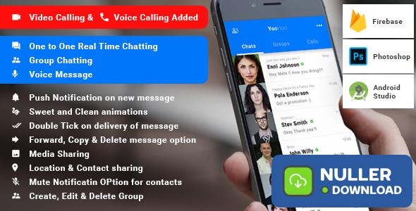 YooHoo v5.0 - Android Chatting App with Voice/Video Calls, Voice messages + Groups -Firebase | Complete App