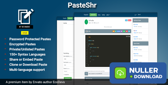 PasteShr v1.5 - Text Hosting & Sharing Script