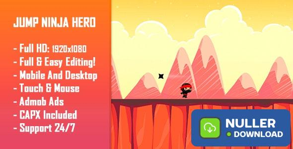 Jump Ninja Hero - HTML5 Game + Mobile Version! (Construct 2 / Construct 3 / CAPX)