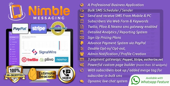 Nimble Messaging v1.5.1 - Professional SMS Marketing Application For Business - nulled