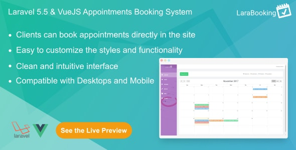 LaraBooking v1.0.1 - Laravel Appointments Booking System