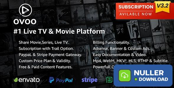 OVOO v3.2.0 - Live TV & Movie Portal CMS with Membership System - nulled