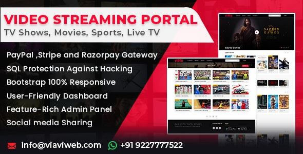Video Streaming Portal v1.1.0 (TV Shows, Movies, Sports, Videos Streaming, Live TV) - nulled