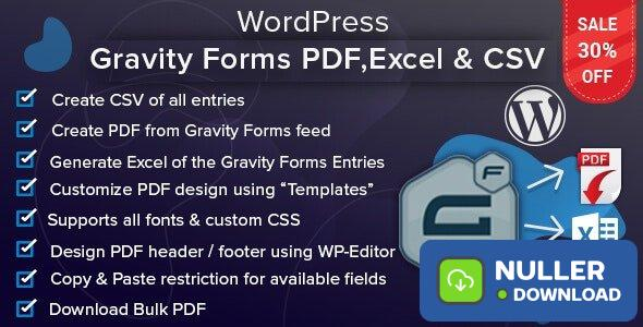 WordPress Gravity Forms PDF, Excel & CSV v1.4.1