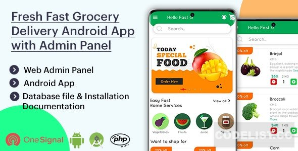 Fresh Fast Grocery Delivery Android App with Interactive Admin Panel v1.1