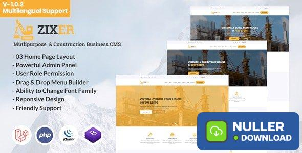 Zixer v1.0.2 - Multipurpose Website & Construction Business Company CMS - nulled