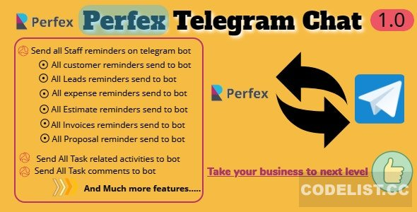 Perfex CRM and TelegramBot Chat Module v1.0