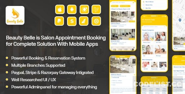 Beauty Belle v1.1 - Salon & Spa Appointment Booking App For Android - iOS App with admin panel - nulled
