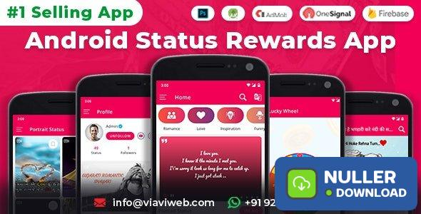 Android Status App With Reward Point (Lucky Wheel, WA Status Saver, Video, GIF, Quotes & Image) v8.0